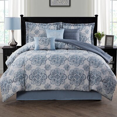 Nastia 7 Piece Reversible Comforter Set Size: King