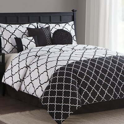 Clover Trellis 7 Piece Reversible Comforter Set Size: Queen