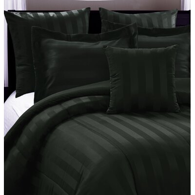 Dobby Stripe 6 Piece Comforter Set Size: Queen, Color: Black