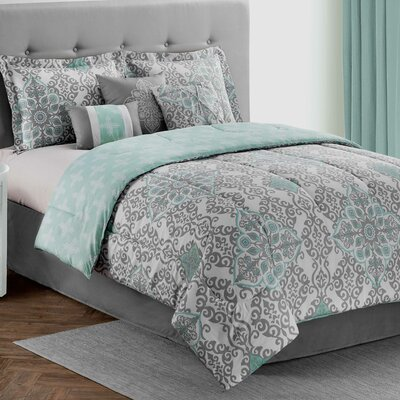 Shelby 7 Piece Reversible Comforter Set Size: California King