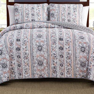 Laura 3 Piece Reversible Quilt Set Size: King