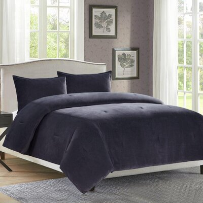 Rennick 3 Piece Comforter Set Size: Queen, Color: Charcoal