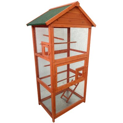 Wood Bird Cage Color: Orange