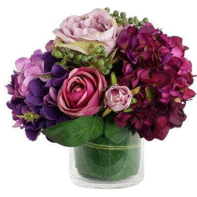 Artificial Silk Mixed Floral Arrangements in Decorative Vase