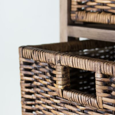 Marius Wicker Basket 3 Drawer Nightstand