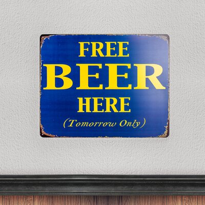 Free Beer Here Tomorrow Only Vintage Metal Sign for Man Cave Bar Garage