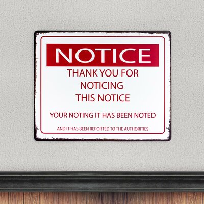 Notice This Notice Metal Sign