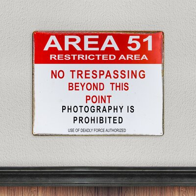 Area 51 Restricted Area Metal Sign