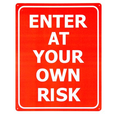 Enter at Your Own Risk Metal Sign for Man Cave Bedroom Bathroom Basement