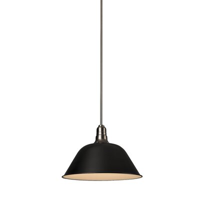 Amanda 1-Light Mini Pendant Size: Large, Shade Color: Black