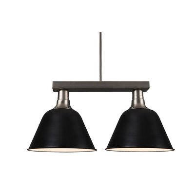 Amanda 2-Light Kitchen Island Pendant Shade Color: Black