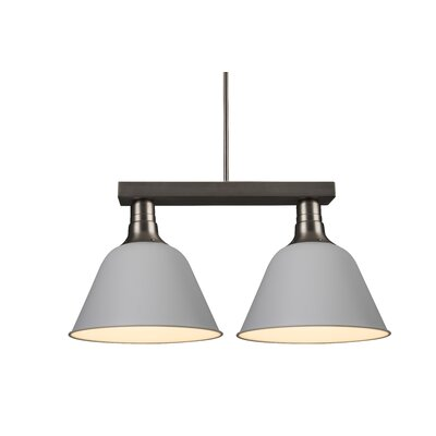 Amanda 2-Light Kitchen Island Pendant Shade Color: White