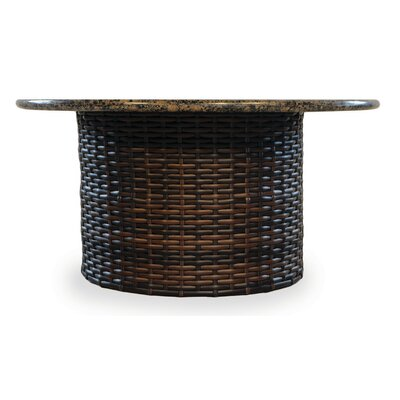 Contempo Wicker Rattan Chat Table Venetian Gold Stone - Product photo