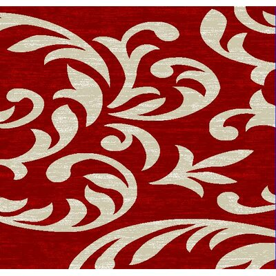 Bella Stem Red Area Rug Rug Size: 8 x 11