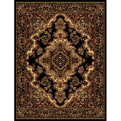 Oriental Classic Black/Beige Area Rug Rug Size: Rectangle 18 x 27