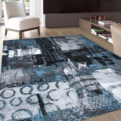Architectural Blue/Gray Area Rug Rug Size: 8 x 10