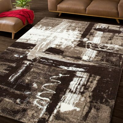 Illusional Pond Brown/Beige Area Rug Rug Size: 8 x 10