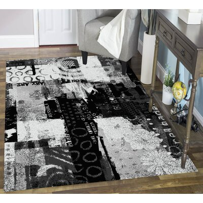 Architectural Gray/Black Area Rug Rug Size: 8 x 10
