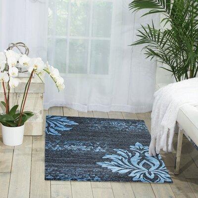 Floret Blue/Gray/Black Area Rug Rug Size: 8 x 10