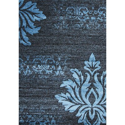 Floret Blue/Gray/Black Area Rug Rug Size: 5 x 75