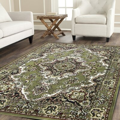 Oriental Classic Green/Black Area Rug Rug Size: 3 x 5