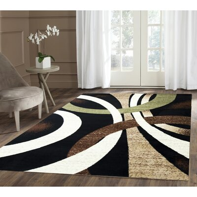 Coleen Abstract Black/Beige Area Rug Rug Size: 18 x 27