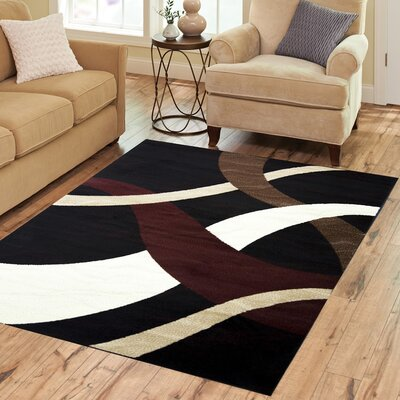 Sequenced Neutral Black/Beige Area Rug Rug Size: 3 x 5