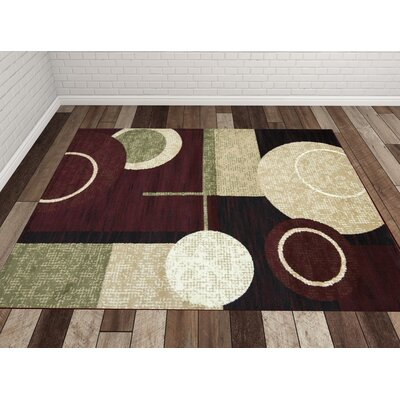 Cylindrical Maroon/Green Area Rug Rug Size: Rectangle 18 x 27