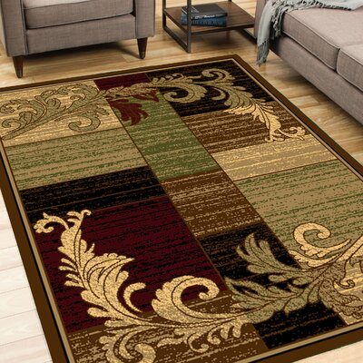 Wreath Leaf Brown/Beige Area Rug Rug Size: Rectangle 5 x 7
