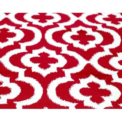 Mirror Rehash Red Area Rug Rug Size: Runner 3 x 8