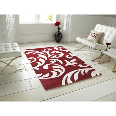 Bella Stem Red Area Rug Rug Size: 5 x 7