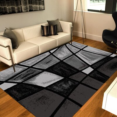 Chalk Fade Black/Gray Area Rug Rug Size: 8 x 10