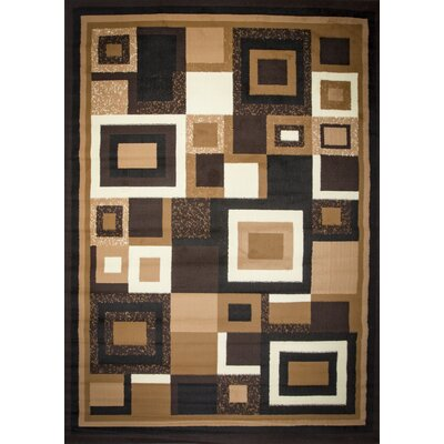 Enedina Quadrilateral Brown/Black/Beige Area Rug Rug Size: 5 x 7