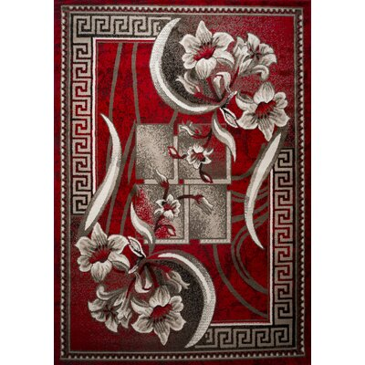 Rosemarie Floweret Red Area Rug Rug Size: 4 x 5