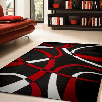 Katelynn Black/White/Red Area Rug Rug Size: 5 x 7