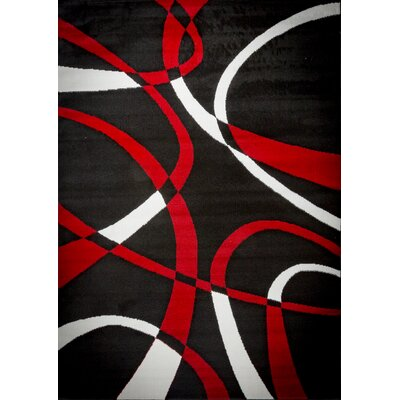 Aquilar Black/Red Area Rug Rug Size: 2 x 3