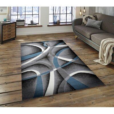 Katelynn Gray/Blue/White Area Rug Rug Size: 5 x 7