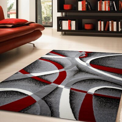 Nevaeh Gray/White/Wine Red/Black Area Rug Rug Size: 5 x 7