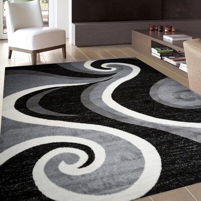 Mckenzie Gray/White/Black Area Rug Rug Size: 5 x 7