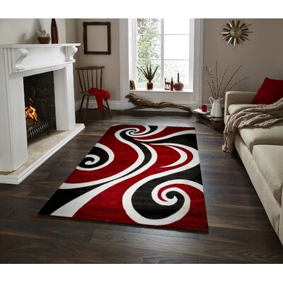 Mckenzie Red/Black/White Area Rug Rug Size: 4 x 5
