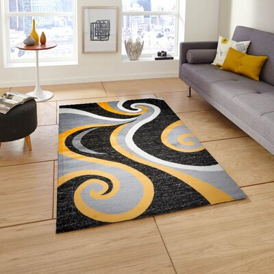 Mckenzie Black/Gray/Yellow Area Rug Rug Size: 4 x 5