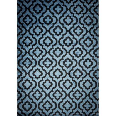 Selway Mirror Rehash Black/Blue Area Rug Rug Size: 4 x 5