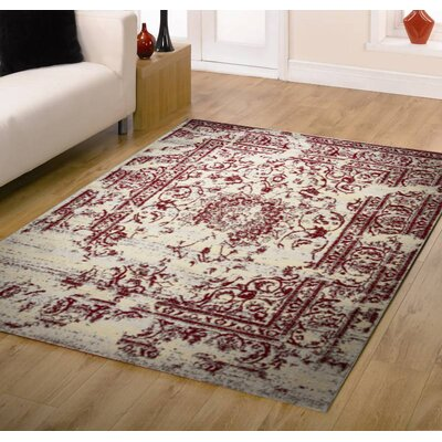 Jaime Red/Cream Area Rug Rug Size: 4 x 5