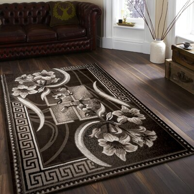 Rosemarie Floweret Brown Area Rug Rug Size: 4 x 5