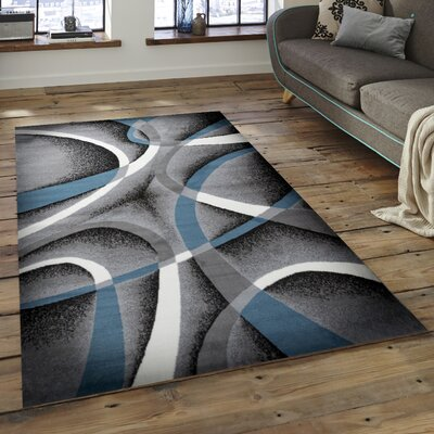 Nevaeh Gray/Blue/White Area Rug Rug Size: 5 x 7