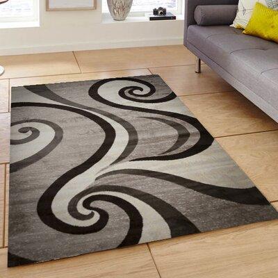 Ramona Swish Beige/Gray/Black Area Rug Rug Size: 4 x 5