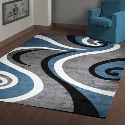 Ramona Swish Blue/Gray Area Rug Rug Size: 4 x 5