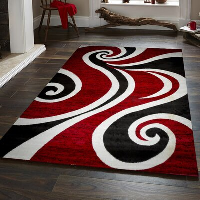 Ramona Swish Red/Black/White Area Rug Rug Size: 8 x 10