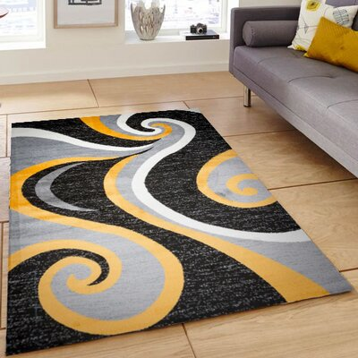 Ramona Swish Black/Gray/Yellow Area Rug Rug Size: 4 x 5