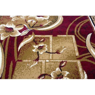 Original Rosemarie Floweret Red Area Rug Rug Size: Rectangle 4 x 5